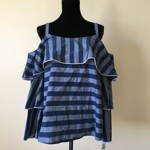 Inc NWT off the shoulder striped top